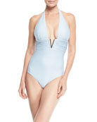 V-Bar One-Piece Textured One-Piece Swimsuit