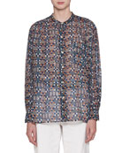 Nahla Button-Front Long-Sleeve Voile Printed Blouse