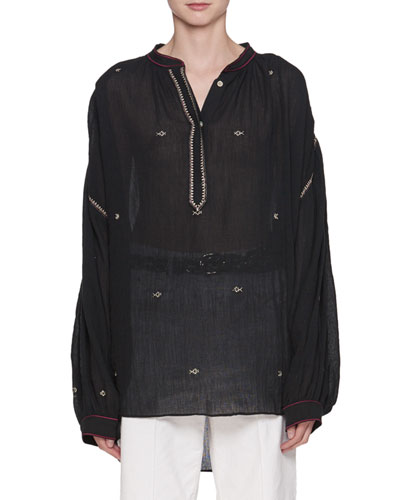 Mathilde Embroidered Cotton Gauze Oversized Top