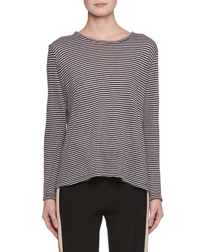 Kaaron Crewneck Long-Sleeve Striped Linen Shirt