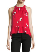Ayame Floral-Print Sleeveless Silk Top