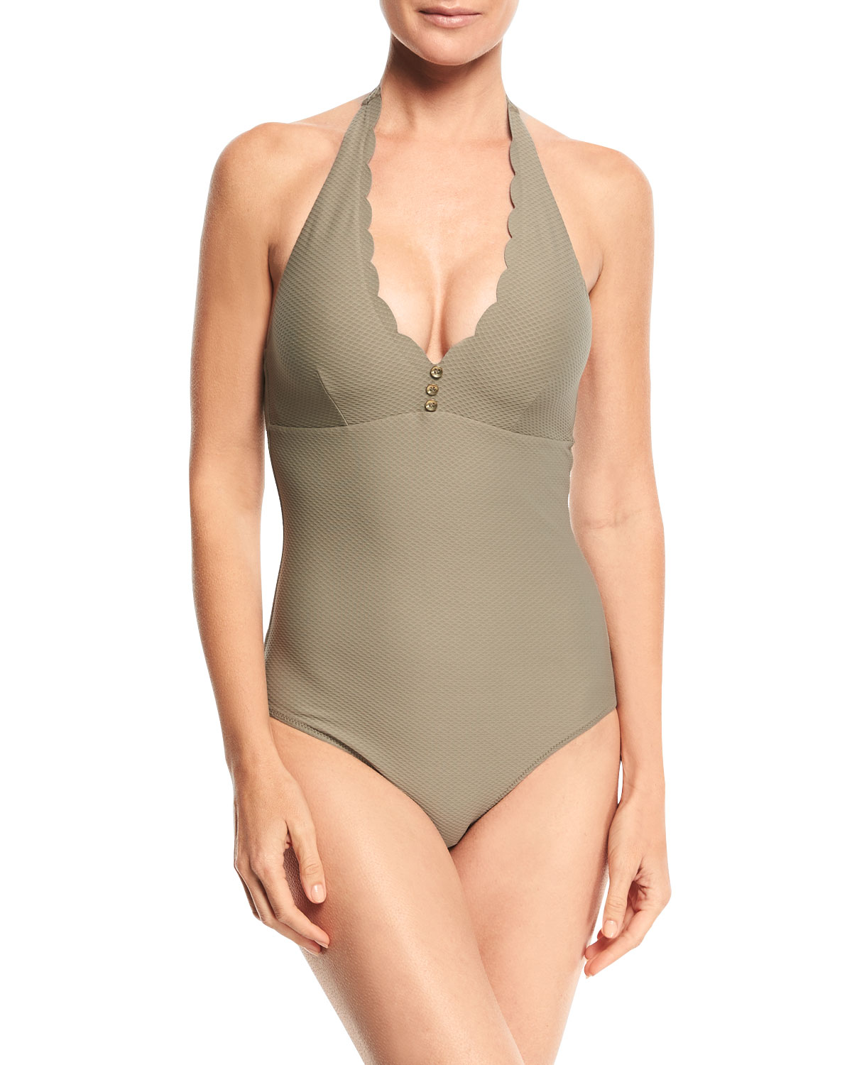 Lumu Scalloped Halter One-Piece Swimsuit
