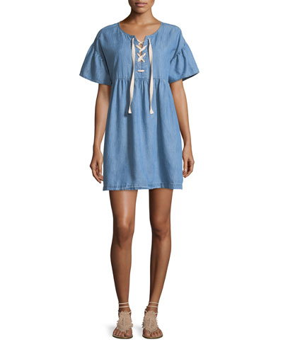 Yenvy Lace-Up Chambray Babydoll Dress