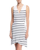 Maine Sleeveless Striped Wrap Dress
