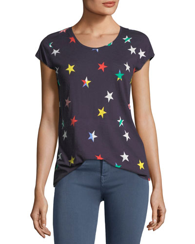 Dillon Scoop-Neck Allover Stars Cotton Top