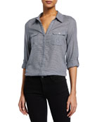Booker Button-Front Gingham Cotton Top
