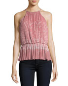 Jeneca Pleated Printed Halter Top