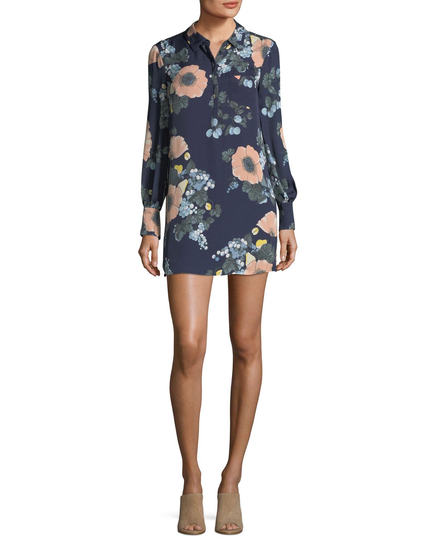 Amaranda Collared Floral-Print Silk Mini Dress