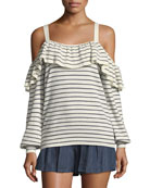 Delbin B Striped Cold-Shoulder Wool-Cashmere Sweater