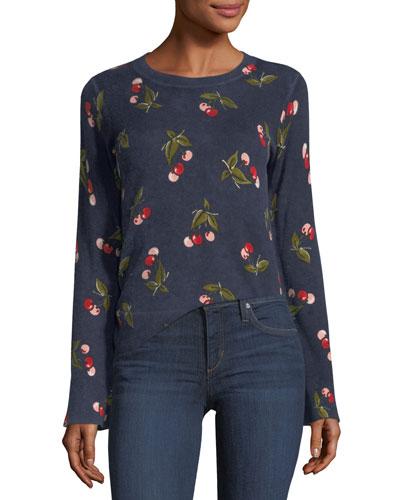 Varden Cherry-Print Cashmere Sweater