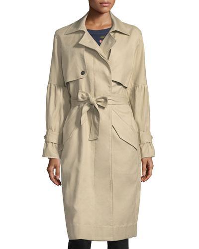 Alwena Button-Front Trench Coat