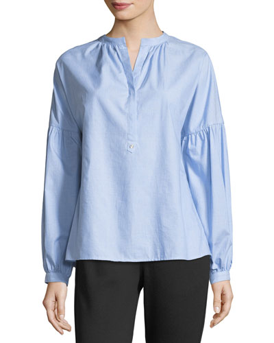 Azabeth Drop-Shoulder Henley Shirt