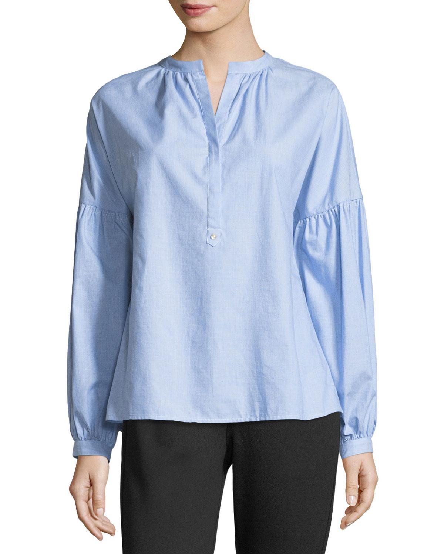Azabeth Drop-Shoulder Henley Shirt