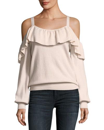 Delbin Cold-Shoulder Cashmere Sweater