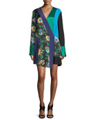 Long-Sleeve Colorblocked Crossover Silk Dress
