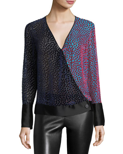 V-Neck Semisheer Velvet Burnout Top