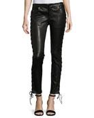Skinny-Leg Lamb Leather Pants w/ Lacing