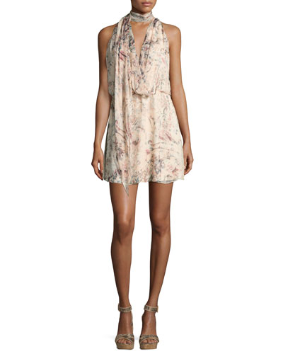 Ginny Printed Halter Mini Dress
