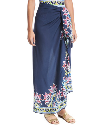 Lotus Batik-Print Pareo Coverup