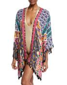 Golden-Medallion Open-Front Challis Kimono Coverup, One Size
