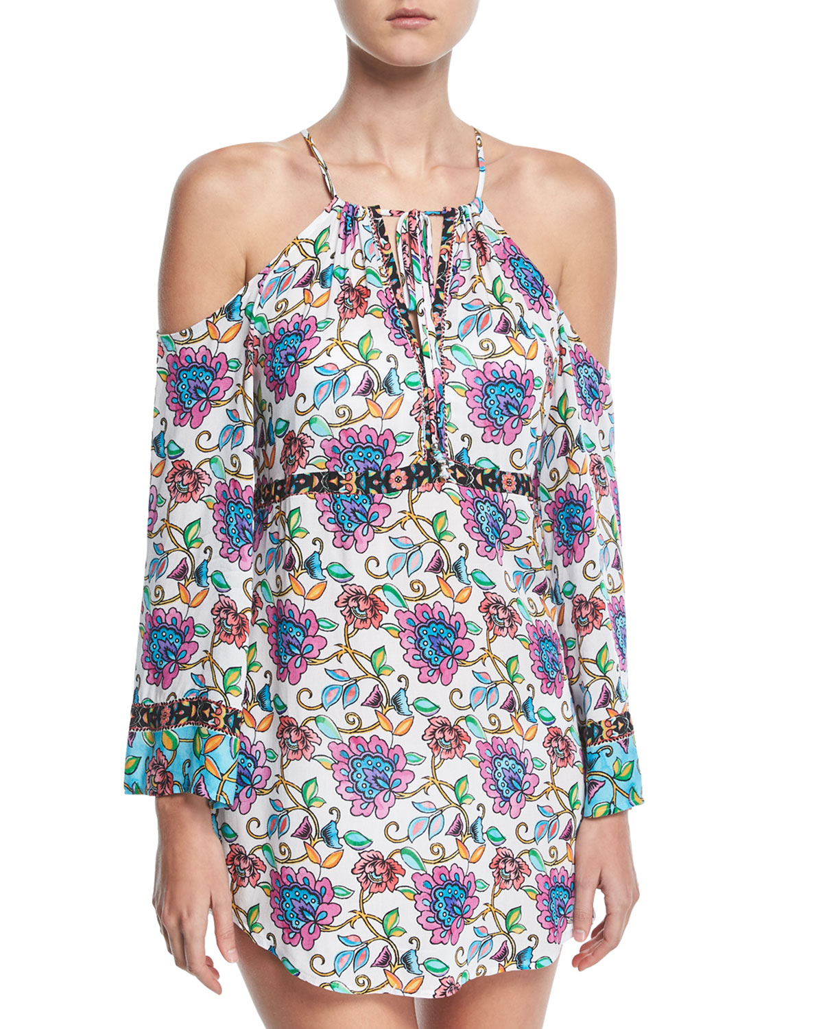 Rosarito Off-the-Shoulder Printed Coverup Dress