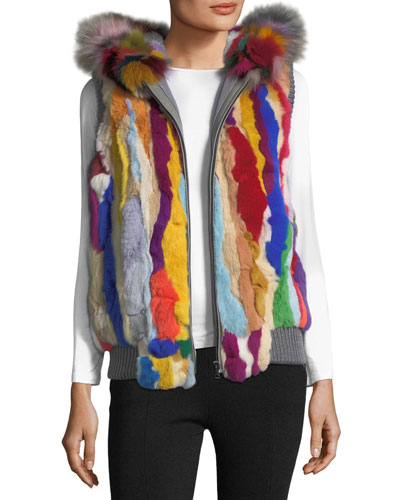 Zip-Front Hooded Fur Vest, Multi