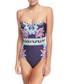 Lotus Batik-Print Bandeau One-Piece Swimsuit