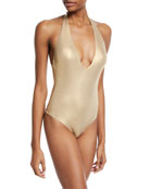 Shine-On Plunging Halter One-Piece Swimsuit