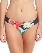 Royal Botanical Shirred-Sides Swim Bikini Bottoms