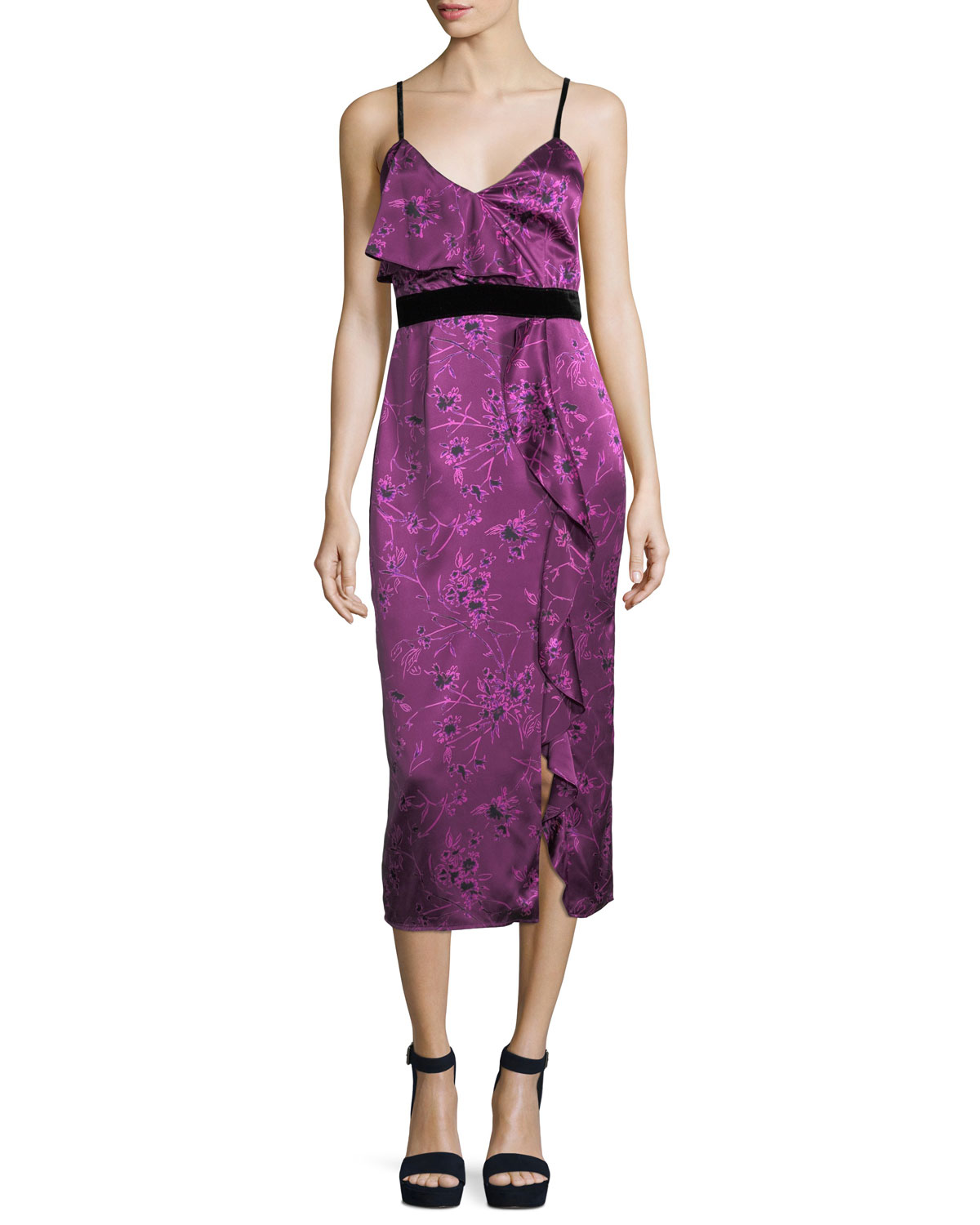 Lara Sleeveless Floral-Print Satin Cocktail Dress w/ Velvet Trim