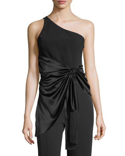 Theoline One-Shoulder Crepe & Satin Top
