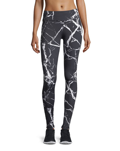 Varley Huntley Marble-Print Performance Leggings w/ Mesh