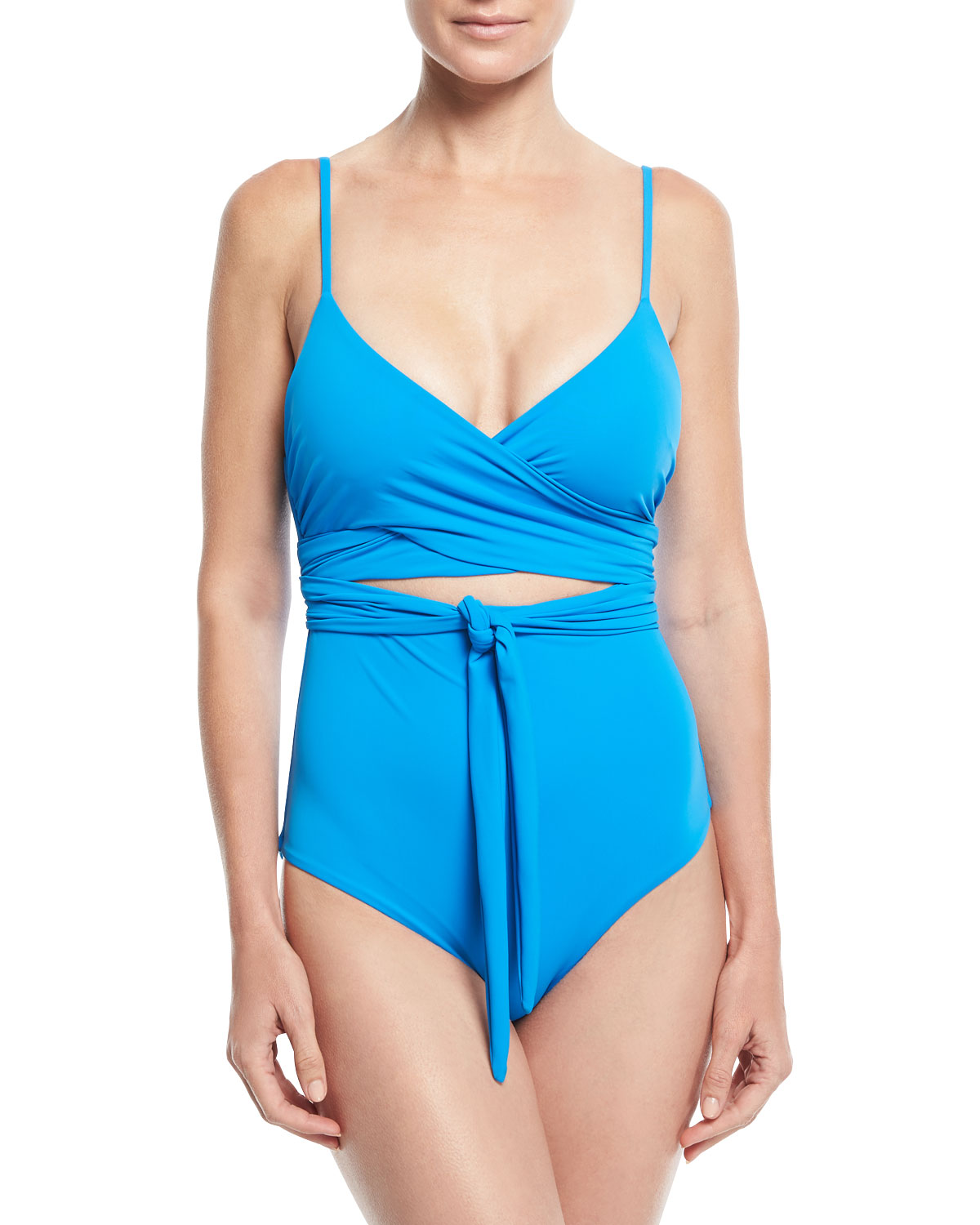 Isolde Wrap-Front One-Piece Solid Swimsuit