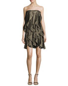 Strapless Striped Metallic Flounce Cocktail Dress