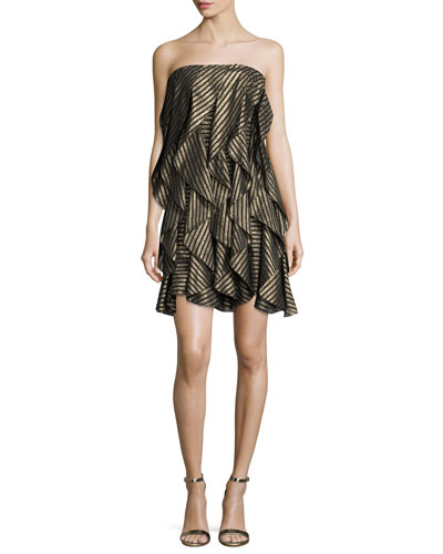 Strapless Striped Metallic Flounce Cocktail Dress