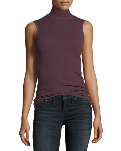 Mock-Neck Sleeveless Stretch-Knit Top