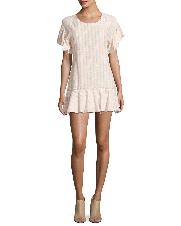 Cara Crewneck Striped Cotton Mini Dress