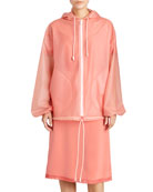 Translucent Plastic Hooded Zip Coat