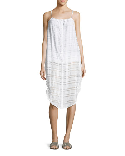 Flora Button-Front Plaid Gauze Coverup Dress