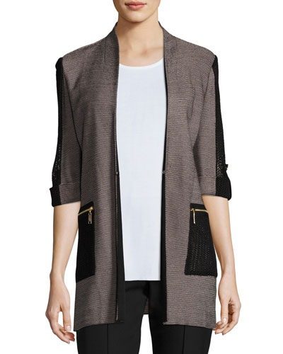 Woven Jacket with Zip Pockets, Petite