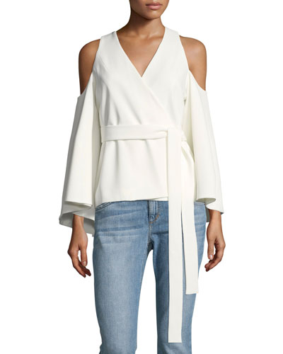 Nila Crossover-Front Cold-Shoulder Crepe Top