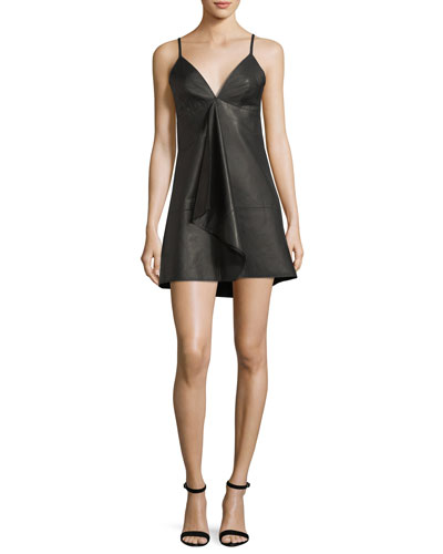 Rei Deep-V Sleeveless Leather Mini Dress