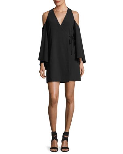 Tyra V-Neck Cold-Shoulder Crepe Dress