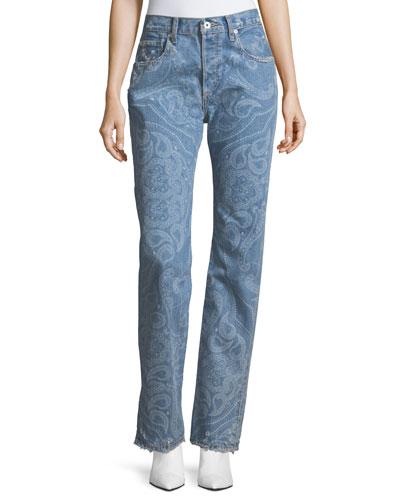 Paisley-Printed High-Rise Straight-Leg Denim Pants