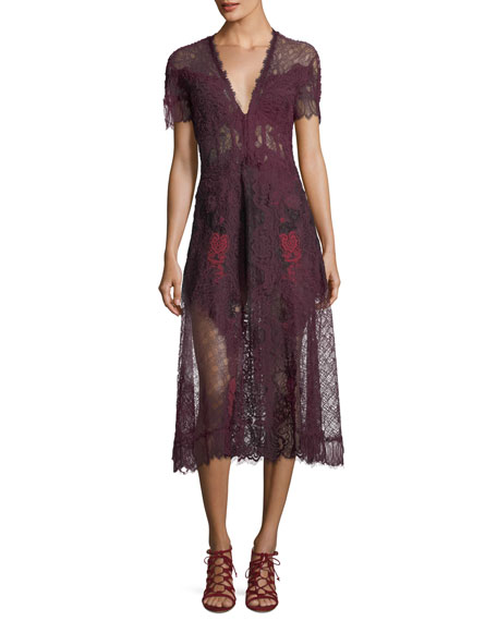 Jonathan Simkhai Plunging Short-Sleeve Lace Midi Dress