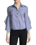 Button-Front Gingham Poplin Shirt w/ Lace-Up Trim
