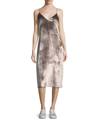 Parker V-Neck Velvet Midi Slip Dress