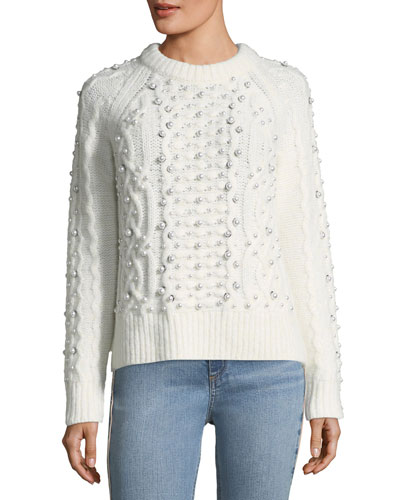 Jemima Crewneck Beaded Cable-Knit Sweater