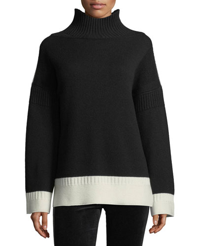 Aubree Funnel-Neck Cashmere Pullover Sweater
