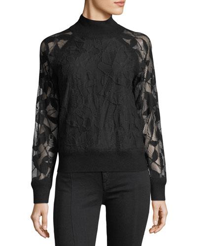 Sofiya Mock-Neck Knit Sweater with Lace